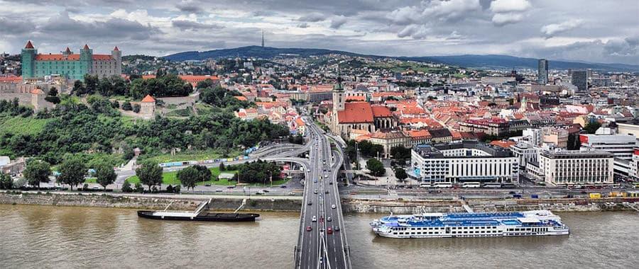 Aussicht der Altstadt von Bratislava, fotografiert nach dem Umzug Wien Bratislava.