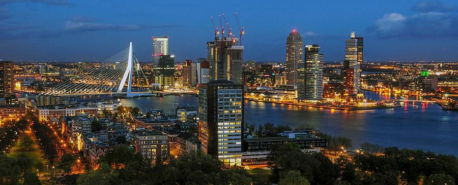Das Panorama von Rotterdam geniessen, nach dem Umzug Wien Rotterdam.