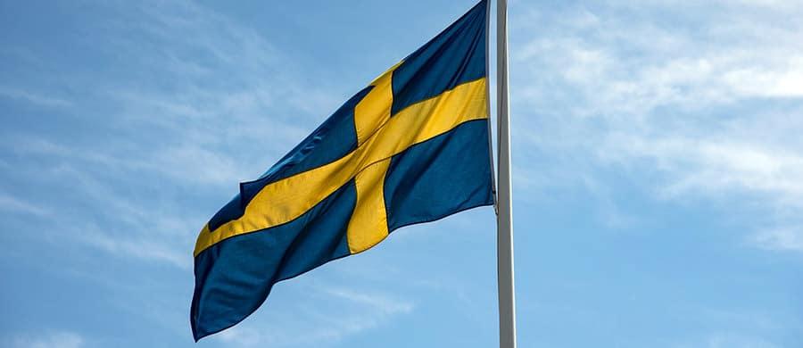 Die Schwedische Flagge aufhängen, nach dem Umzug Wien Schweden.