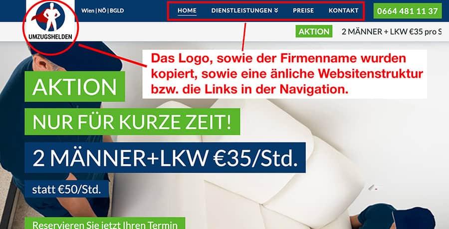 Gefälschte bzw. Fake Website von UmzugHelden Wien.