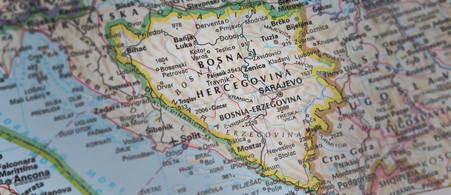 Die Karte von Bosnien für den Umzug von Wien nach Bosnien und Herzegowina.